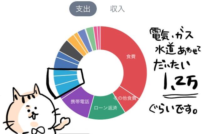 光熱費 家計簿 円グラフ