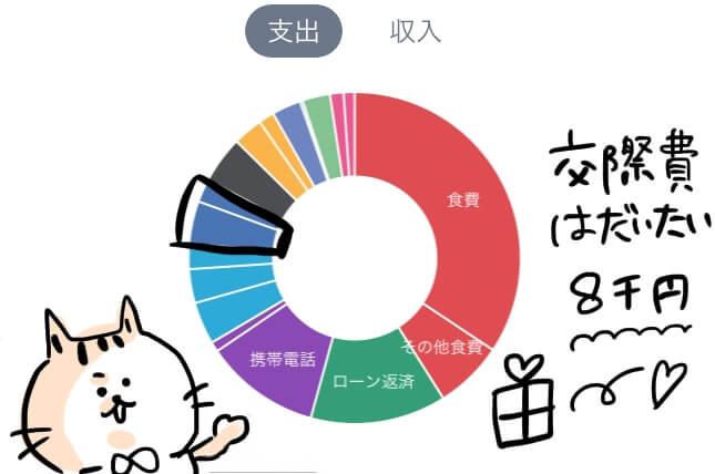 交際費 家計簿 円グラフ