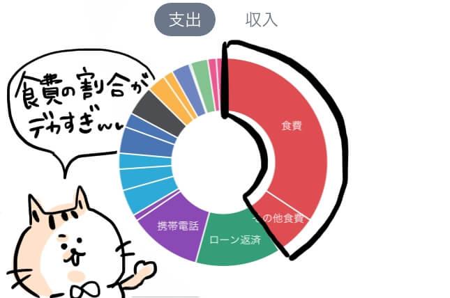 食費 家計簿 円グラフ