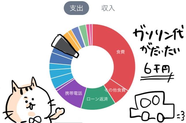 自動車  家計簿 円グラフ