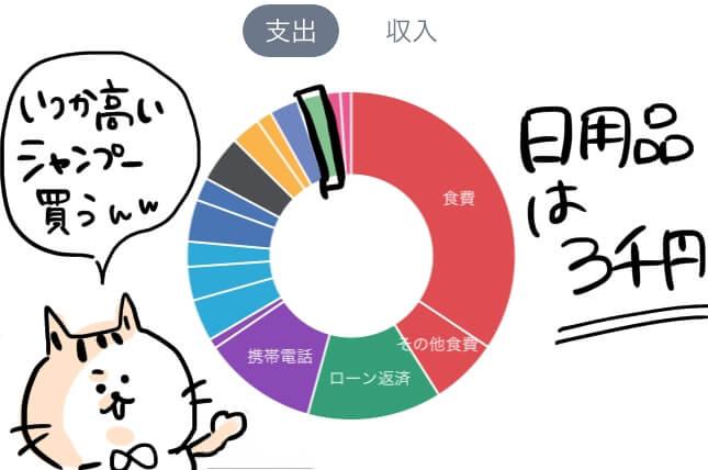 日用品 家計簿 円グラフ